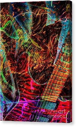 Notes On Fire Digital Guitar Art By Steven Langston Canvas Print by Steven Lebron Langston