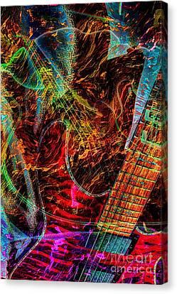 Notes On Fire Digital Guitar Art By Steven Langston Canvas Print by Steven Lebron Langston