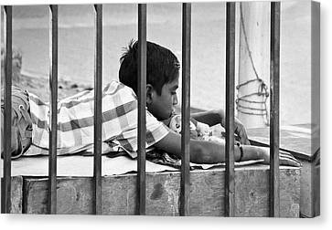 Laying On Stomach Canvas Print - Nothings Going To Change My World Its Like A by Kantilal Patel
