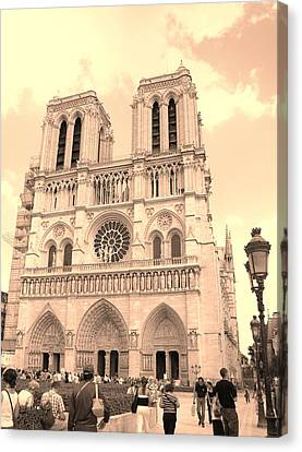 Canvas Print featuring the photograph Notre Dame Cathedral by Cleaster Cotton