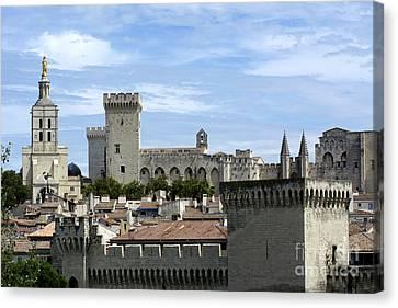 Notre-dame-des Doms Cathedral And Palais Des Papes. Avignon. France Canvas Print by Bernard Jaubert