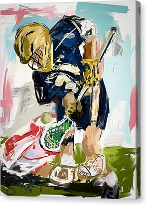 College Lacrosse Faceoff 1 Canvas Print by Scott Melby