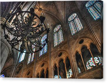 Canvas Print featuring the photograph Notre Dame Interior by Jennifer Ancker