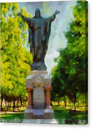 Notre Dame Jesus Statue In Summer Canvas Print by Dan Sproul