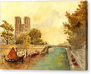 City Canvas Print - Notre Dame Paris. by Juan  Bosco