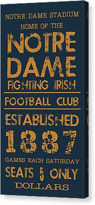 Vintage Sign Canvas Print - Notre Dame Stadium Sign by Jaime Friedman