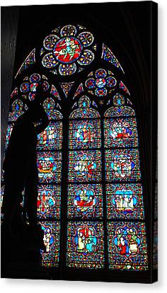 Notre Dame Stained Glass Silhouette Canvas Print by Jennifer Ancker