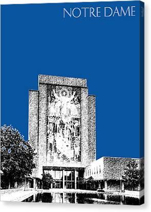 Notre Dame University Skyline Hesburgh Library - Royal Blue Canvas Print by DB Artist