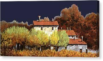 Notte In Campagna Canvas Print by Guido Borelli