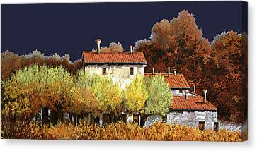 Notte In Campagna Canvas Print by Guido Borelli