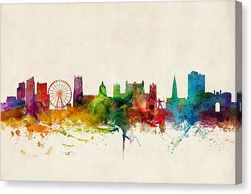 United Kingdom Canvas Print - Nottingham England Skyline by Michael Tompsett