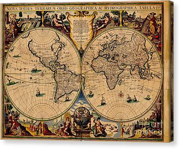 Nova Totius Terrarum Orbis Geographica Ac Hydrographica Tabula Old World Map Canvas Print by Inspired Nature Photography Fine Art Photography