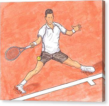 Novak Djokovic Sliding On Clay Canvas Print