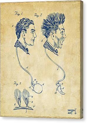 Shock Canvas Print - Novelty Wig Patent Artwork Vintage by Nikki Marie Smith