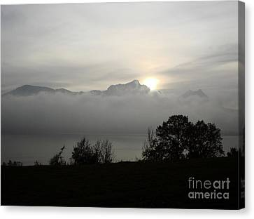 Canvas Print featuring the photograph November Fog Over Moonlake by Menega Sabidussi
