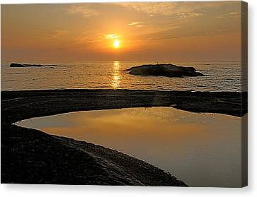 November Sunrise II - Lake Superior Canvas Print by Sandra Updyke