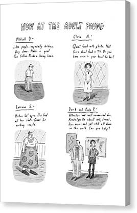 Working Dog Canvas Print - Now At The Adult Pound by Roz Chast