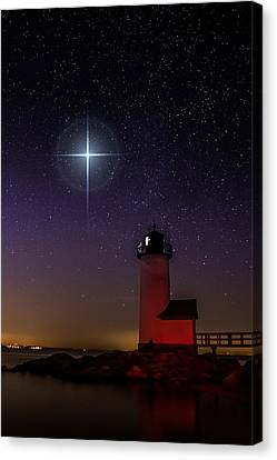 Canvas Print featuring the photograph Star Over Annisquam Lighthouse by Jeff Folger