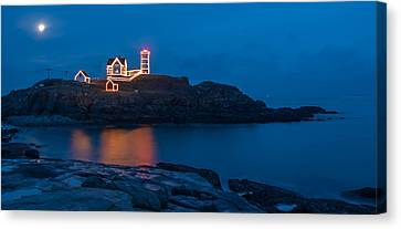 Nubble At Night Canvas Print by Guy Whiteley