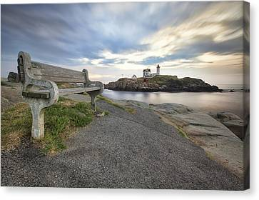 Nubble Bench Canvas Print by Eric Gendron