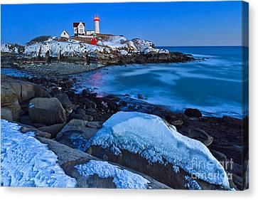 Nubble Lighthouse Canvas Print - Nubble Blizzard by Katherine Gendreau
