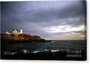 Nubble Lighthouse Canvas Print - Nubble Christmas by Skip Willits