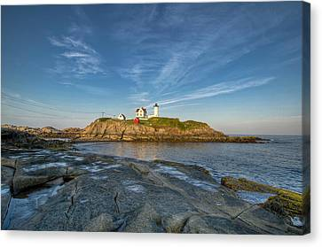 Nubble In Blue Canvas Print by At Lands End Photography