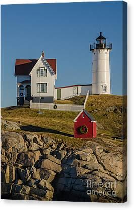 Nubble Lighthouse Canvas Print - Nubble Light At Christmas by Pat Lucas