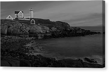Nubble Light At Sunset Bw Canvas Print