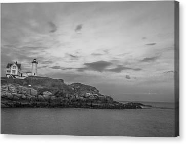 Nubble Light Cape Neddick Black And White Canvas Print by John McGraw
