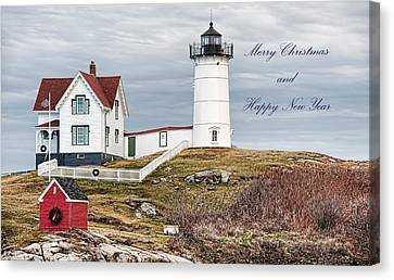 Canvas Print featuring the photograph Nubble Light Christmas Card by Richard Bean