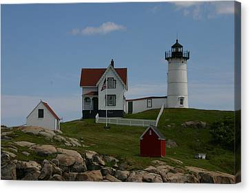 Canvas Print featuring the photograph Nubble Light House York Maine by Denyse Duhaime