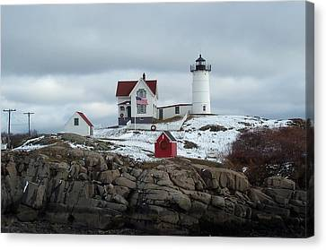 Canvas Print featuring the photograph Nubble Light In December by Barbara McDevitt