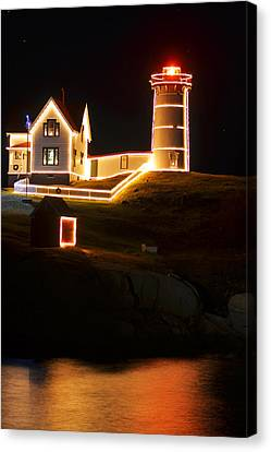 Nubble Light In York Me Cape Neddick Christmas Canvas Print by Toby McGuire