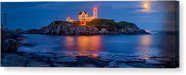 Nubble Light Moonrise Canvas Print