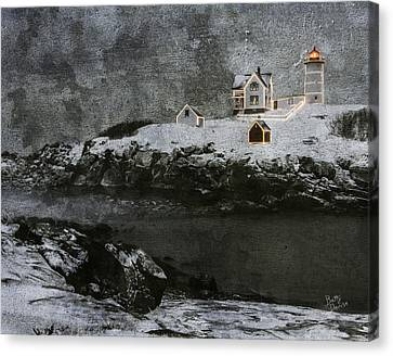 Nubble Light Stormy Night Canvas Print by Betty Denise