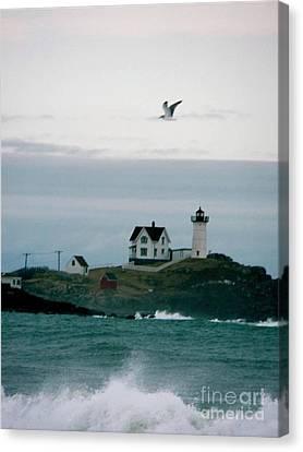 Nubble Lighthouse Canvas Print - Nubble Light That Winter by Sharon Sennett Herne