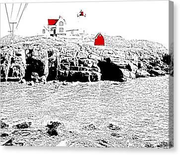 Nubble Lighthouse Canvas Print - Nubble Lighthouse - Digitized by Nina-Rosa Duddy