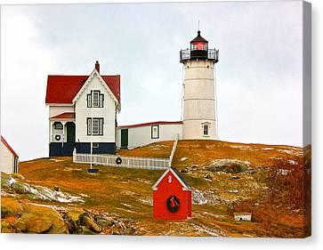 Canvas Print featuring the photograph Nubble Lighthouse by Amazing Jules