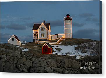 Nubble Lighthouse At Christmas Canvas Print