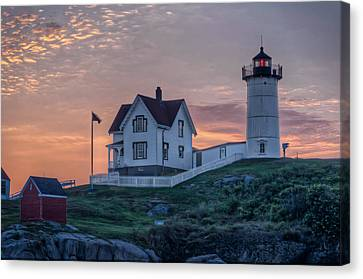 Maine Lighthouses Canvas Print - Nubble Lighthouse At Dawn by At Lands End Photography