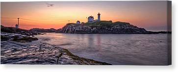 Maine Lighthouses Canvas Print - Nubble Lighthouse Before Sunrise - Panorama by At Lands End Photography