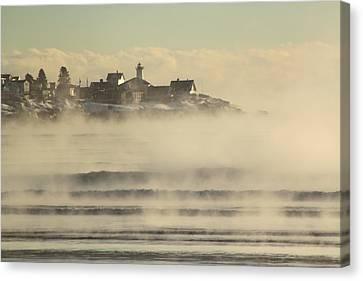 Nubble Lighthouse Canvas Print - Nubble Lighthouse Cape Neddick Sea Smoke by John Burk