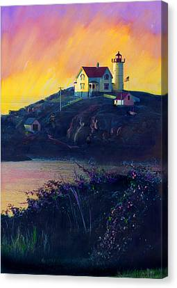 Nubble Lighthouse Canvas Print by Cindy McIntyre