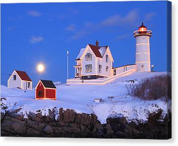 Nubble Lighthouse Full Moon And Holiday Lights Canvas Print
