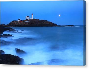 Nubble Lighthouse Full Moon Tide Canvas Print by John Burk