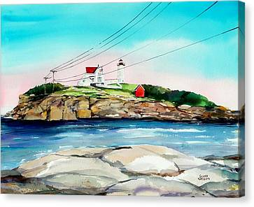Millbury Canvas Print - Nubble Lighthouse Maine by Scott Nelson