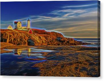 Nubble Lighthouse Neon Glow Canvas Print