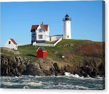 Rose Cottage Gallery Canvas Print - Nubble Lighthouse One by Barbara McDevitt