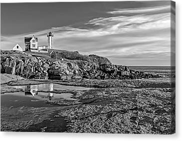 Nubble Lighthouse Reflections Bw Canvas Print by Susan Candelario